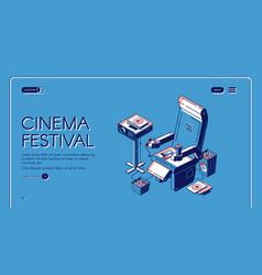 cinema festival movie time entertainment banner vector image