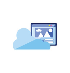 cloud computing with web page vector image