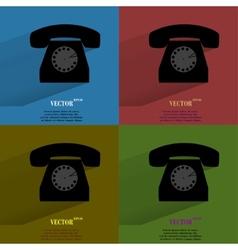Color set Retro telephone Flat modern web button vector