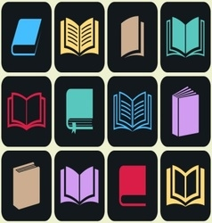 Colorful book icon set vector image