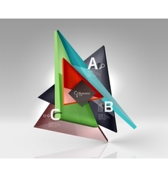 Colorful glossy glass triangle on empty 3d space vector