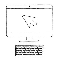 Computer desktop with arrow mouse and keyboard vector
