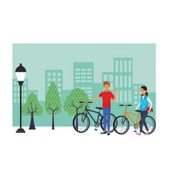 couple in bicicles vector image