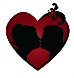 Couple kissing in a heart vector image