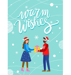 couple with present warm wishes postcard vector image