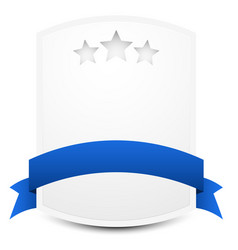 crest plate plaquette with stars and blue ribbon vector image