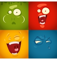 Cute cartoon emotions fear disgust laugh vector