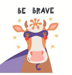 Cute cow superhero vector