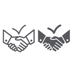 deal line and glyph icon agreement and vector image