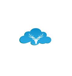 deer head with big horns for logo design reindeer vector image