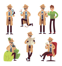 detective character police inspector looking vector image