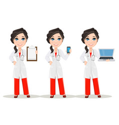doctor woman with stethoscope set cute cartoon vector image