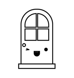 door icon monochrome kawaii silhouette vector image
