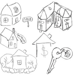 Drawn houses with key vector