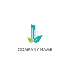 eco leaf building nature logo vector image