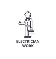 electrician work line icon sign vector image