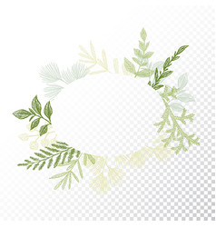 Ellipse floral frame leaves decoration vector