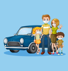 Family with mask in front car vector