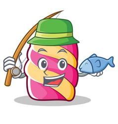 Fishing marshmallow character cartoon style vector