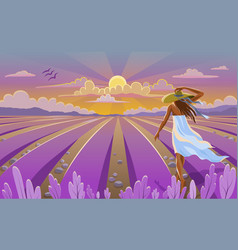 girl in white dress on provence landscape with vector image