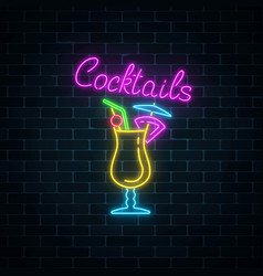 Glow neon sign of cocktails bar on dark brick vector