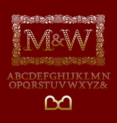 Gold hearts patterned letters with couple monogram vector