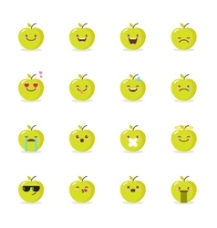 green apple emoji set Funny emoticons vector image