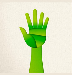 green paper cut human hand for nature concept vector image