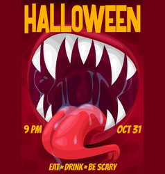 halloween night party poster screaming monster vector image