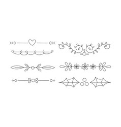 hand drawn line borders set decorative design vector image