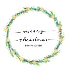 hand written merry christmas on pine leafs star vector image