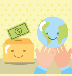 hands with world box kawaii money donate charity vector image