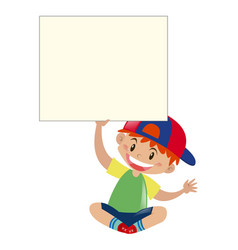 happy boy holding sign vector image