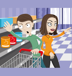 Happy couple in the store vector