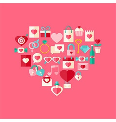 Heart shaped valentine day flat style icon set vector image