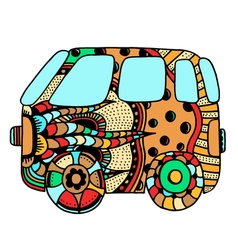 Hippie vintage car a mini van vector image