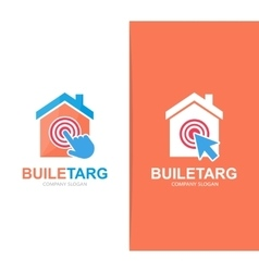 House and click logo combination Real vector