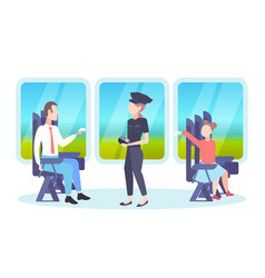inspector woman checking tickets passengers vector image