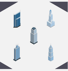 Isometric building set of residential business vector