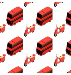 Isometric bus and moped seamless pattern vector image