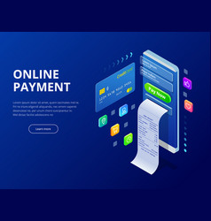 Isometric online payment online concept internet vector