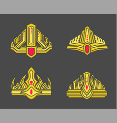 kings and queens gold crowns inlaid with gems vector image