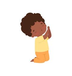 Little african american boy character kneeling in vector