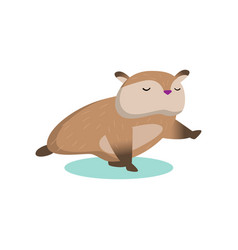 Little cute hamster stands in the plank on the vector