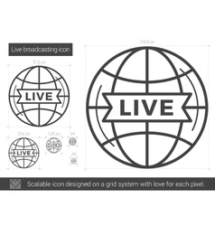 Live broadcasting line icon vector image