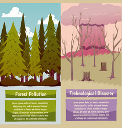 Man-made disasters orthogonal banners vector
