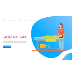 Masseuse making facial massage relaxation vector