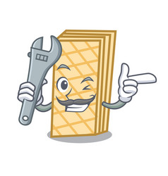Mechanic waffle mascot cartoon style vector