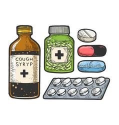 medicine drug set sketch engraving vector image