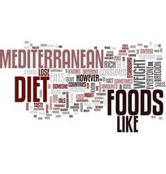 Mediterranean diet full flavored foods help vector